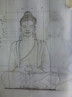 croquis étude pour un bouddha khmer