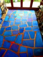 création sol mosaïque peinte & résine époxy