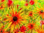 fleurs d'été 1,50 m x 0,80