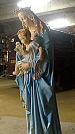 sculpture+ peinture vierge à l'enfant