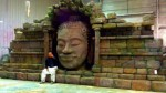mur +tête bouddha